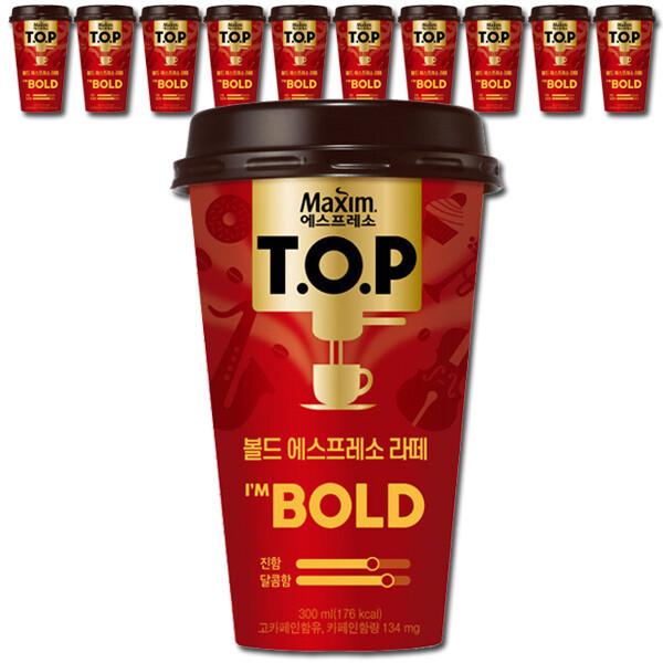 TOP 컵커피 볼드 라떼 300mlx10컵+3단우산+전용포장 상품이미지