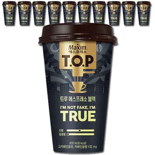 TOP 컵커피 트루 라떼 /블랙 300mlx10컵+우산+전용포장 상품이미지