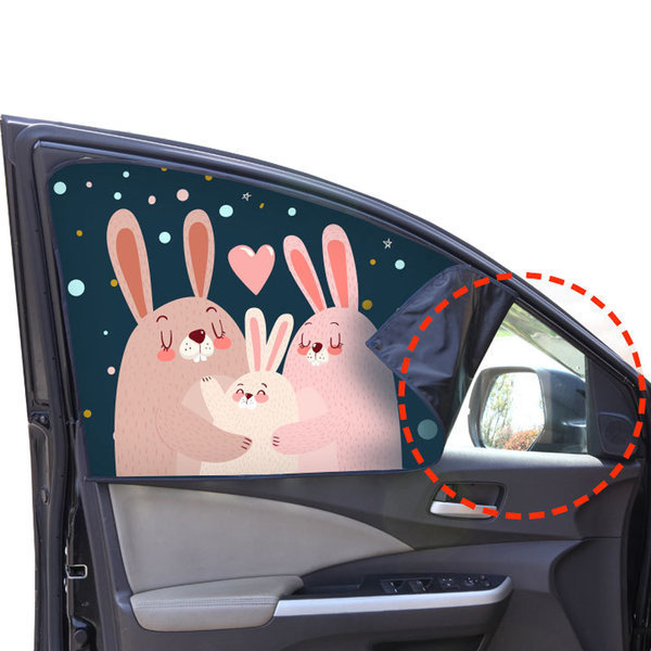 (토끼가족-운전석) 자석 차량용햇빛가리개/자동차커튼 상품이미지