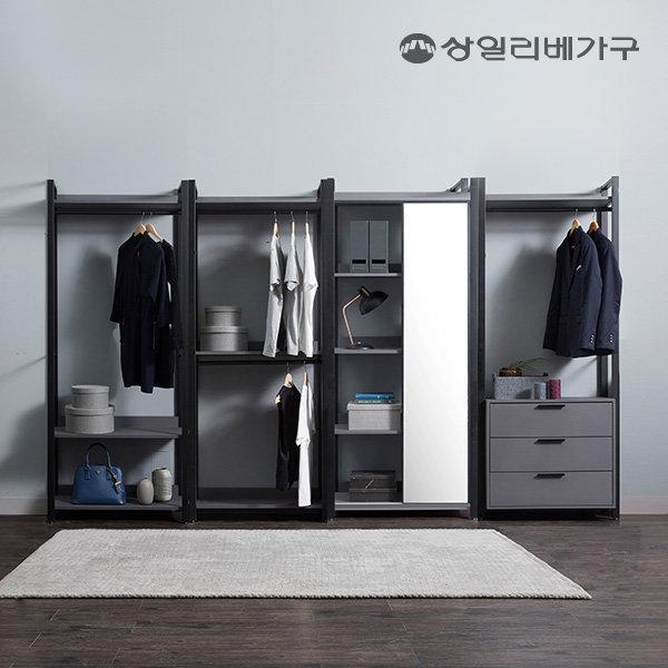 상일리베 아이언 드레스룸 GR 3200 거울서랍 일자형 상품이미지