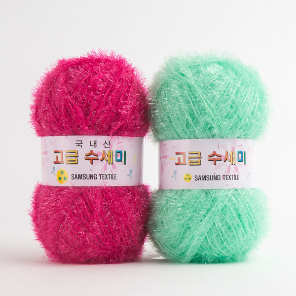 삼성 고급 수세미 친환경 메탈 반짝이 코바늘 뜨개실 상품이미지