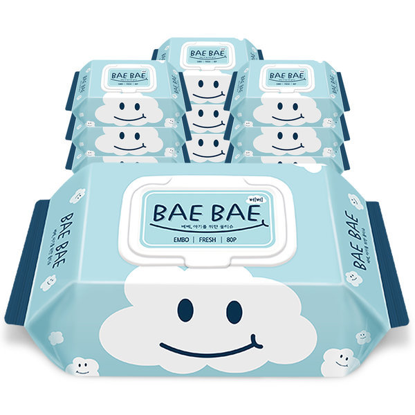BAEBAE(베베) 아기물티슈 FRESH 60gsm 캡형 80매 10팩 상품이미지