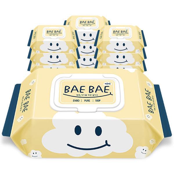 BAEBAE(베베) 아기물티슈 PURE 50gsm 캡형 100매 10팩 상품이미지