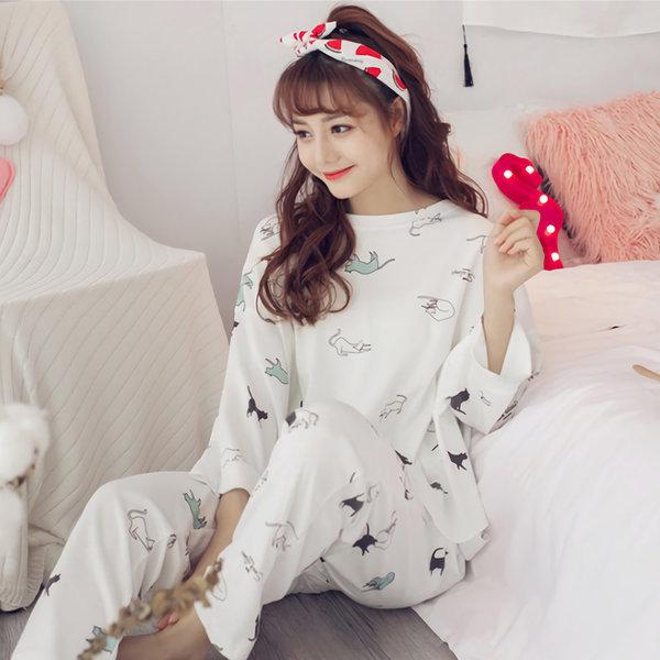 캣 5부 여성 잠옷 빅사이즈 수면잠옷세트 홈웨어 상품이미지