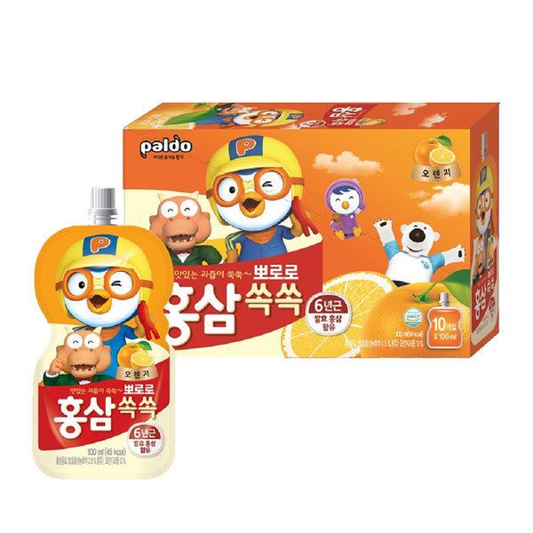 뽀로로 홍삼쏙쏙 오렌지(파우치) 100mlX10개(1BOX) 상품이미지