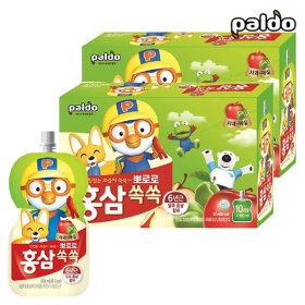Pororo Red Ginseng Ssok Ssok Apple Green Plum(Pouch) 100ml Total 20pcs(2BOX)