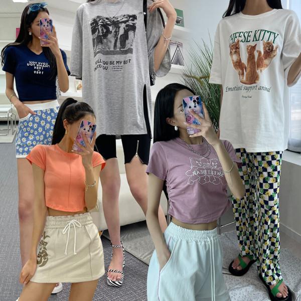유유존-브이넥/프린트-티셔츠모음/클럽섹시타이트 상품이미지