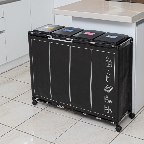커버 분리수거함 4P 1단 재활용 쓰레기통 휴지통 상품이미지