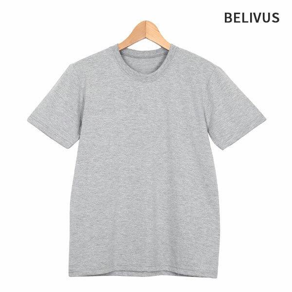(현대Hmall)빌리버스 베이직 회색 라운드 반팔티 BHZ009 무지티 남녀공용 상품이미지
