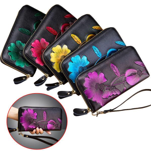 천연가죽 여성 장지갑 3D꽃무늬 패션지갑 지갑 핸드백 상품이미지