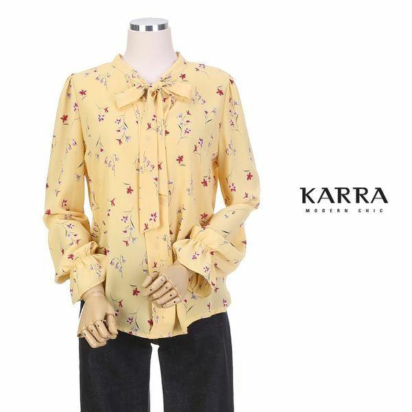 (현대Hmall) 하프클럽/카라 KARRACOLLEC꽃송이리본타이나염블라우스KB9SBL086A 상품이미지