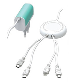 업소용 도난방지 핸드폰 멀티충전기 4포트 충전케이블
