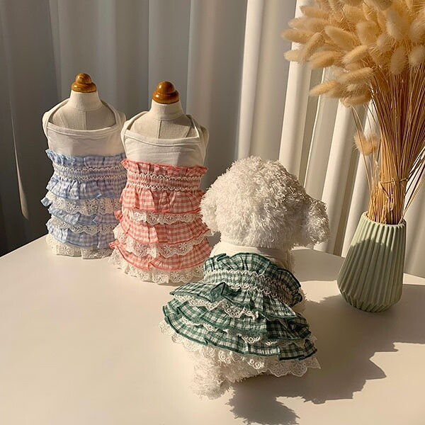 대구백화점 II관   유앤펫 강아지 캉캉 케이크 민소매나시 원피스(애견 애완 옷 의류 티셔츠 봄여름옷 ) 상품이미지