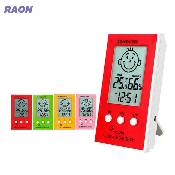 라온 디지털 온습도계 온도계 습도계 시계  핑크 상품이미지