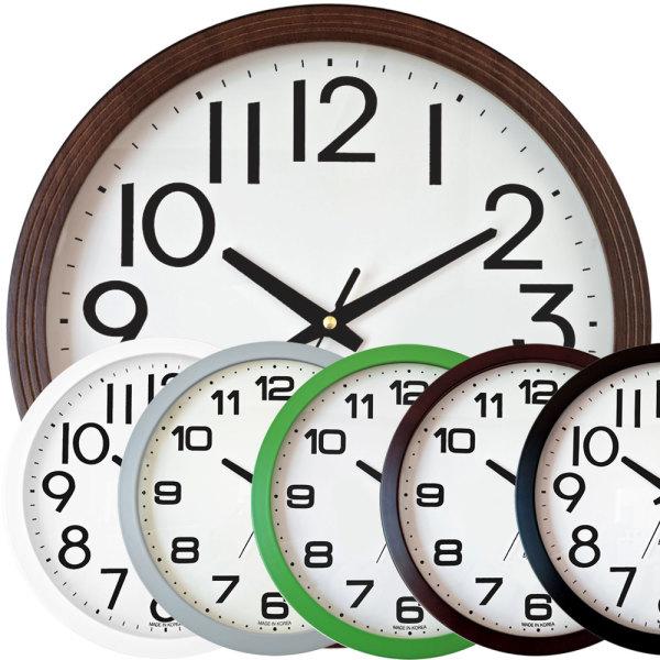 350 무소음 벽시계 34cm 큰숫자 원목 벽걸이 시계 상품이미지