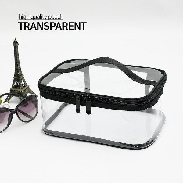 투명 화장품파우치 사각대형/ 비치백 여행용파우치 상품이미지