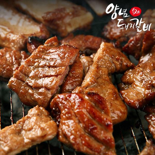 (현대Hmall) 춘천닭갈비 국내산 돼지로 만든 수제 양념 돼지갈비 1kgx2팩 상품이미지