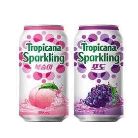 트로피카나 스파클링 복숭아 6캔+포도 6캔