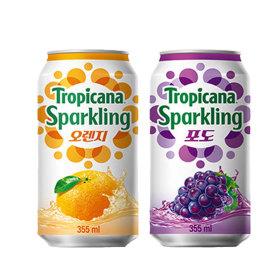 트로피카나 스파클링 오렌지 6캔+포도 6캔