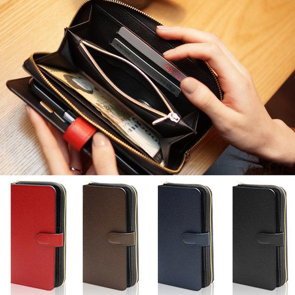 LG Q9 천연소가죽 지갑지퍼케이스 카드지폐동전 Q925 상품이미지
