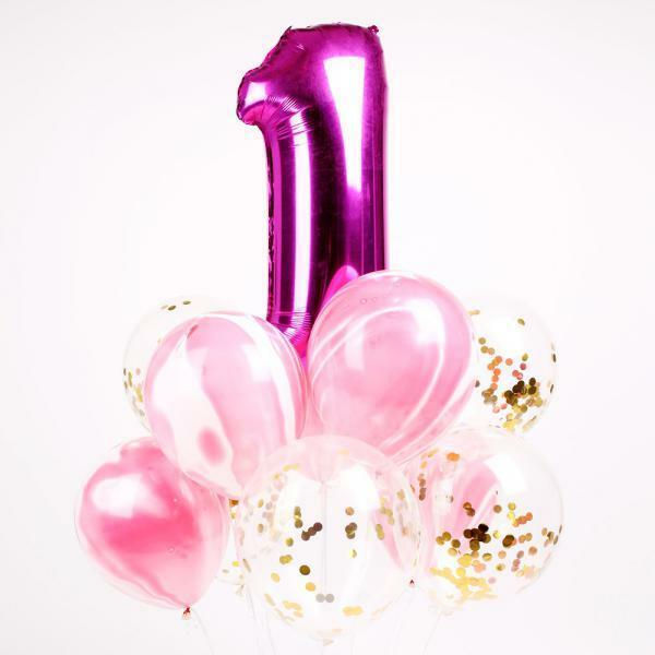 (현대Hmall) 파티해 첫돌 컨페티풍선세트(10개입) 핑크 바보사랑 상품이미지