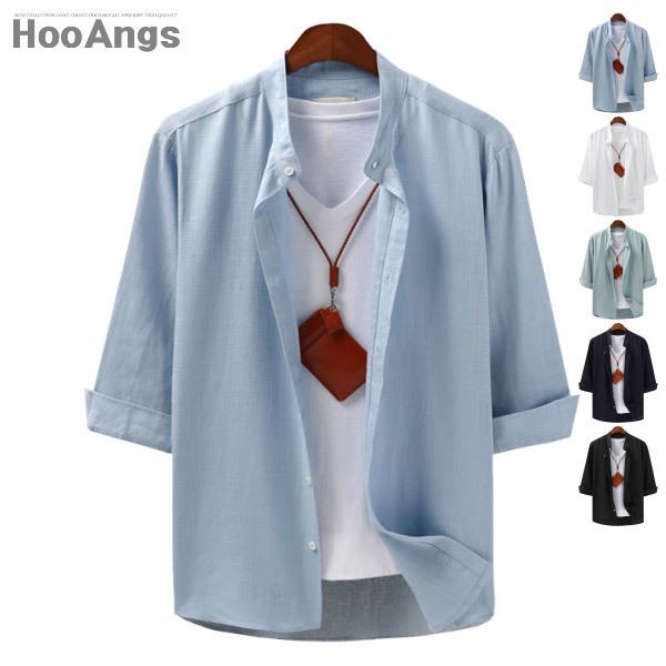 (현대Hmall) 후앙스  7부 린넨 베이직 차이나 셔츠 SBST7018 상품이미지