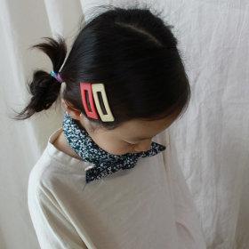 친구선물 아동쁘띠스카프 미니스카프 꽃무늬 네이비