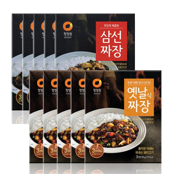 청정원 옛날짜장 180gX5개+삼선짜장180gX5개(총10개) 상품이미지