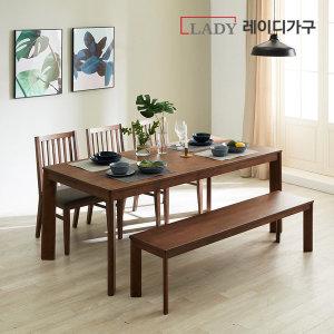 더휴 고무나무 원목 식탁 6인 (벤치1의자3) (쿠폰5%)