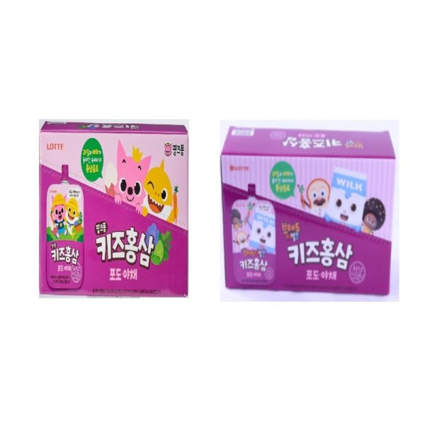 (1+1)CP 10 롯데칠성 핑크퐁키즈홍삼포도야채 100ML 10입박스 상품이미지