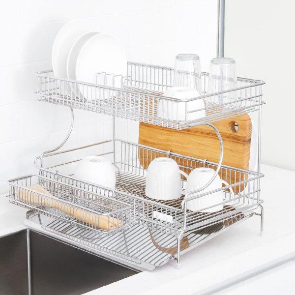 올스텐 식기 건조대 2단 세로형(풀세트) 그릇 정리대 상품이미지
