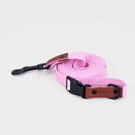 강아지 순면 버클 리드줄 핑크 5m