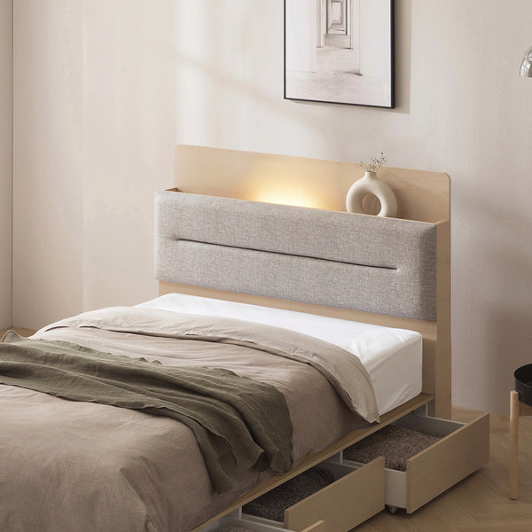 포스트모던 리얼 원목 LED 평상형 침대 슈퍼싱글 퀸 상품이미지