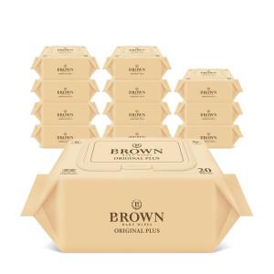 [브라운물티슈]브라운 아기물티슈 오리지널 플러스 20매 휴대캡 12팩