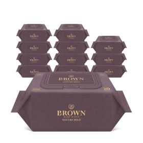 브라운 아기물티슈 네이처 마일드 20매 휴대캡 12팩
