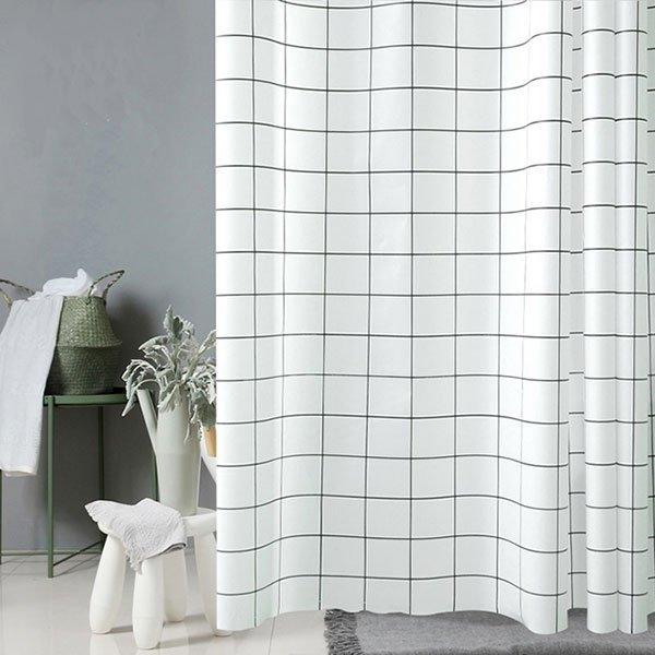 모던 화이트 체크 욕실 샤워커튼 180x180cm-이비자 상품이미지