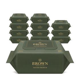 브라운 네이처 프리미엄 아기물티슈 20매 휴대캡 12팩