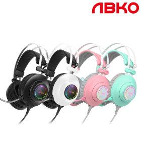 앱코 N550 ENC 진동 초경량 게이밍 헤드셋 화이트