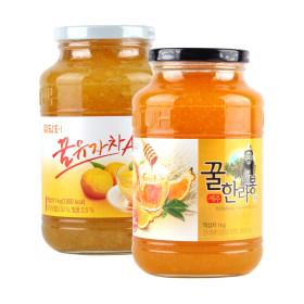 담터 꿀유자차A 1kg+ 꿀한라봉차1kg