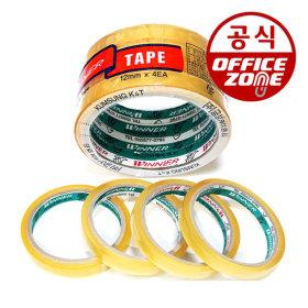 투명 OPP 투명 테이프 12mm 25M 4EA 4등분 사무용