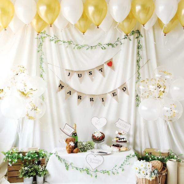 (현대Hmall) 파티해 홈파티장식-러브이벤트 풍선세트(로맨틱골드) 바보사랑 상품이미지