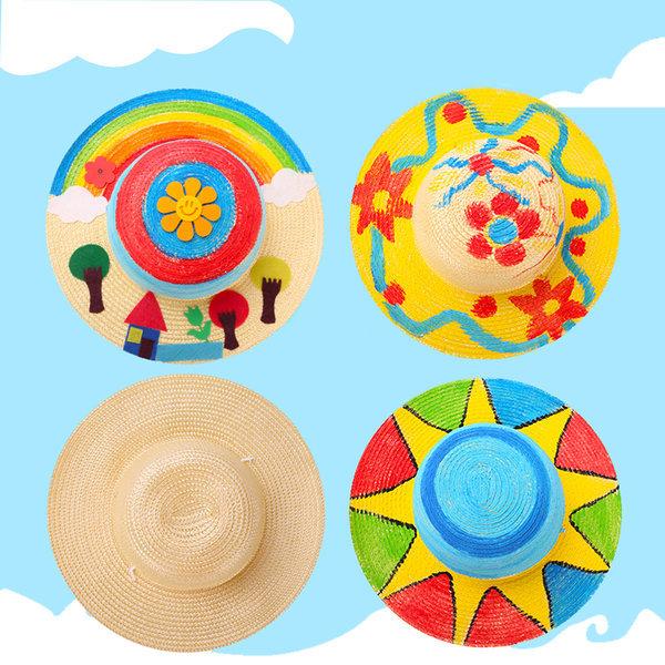 밀짚모자 만들기 유아밀짚모자 모자만들기 모자꾸미기 상품이미지