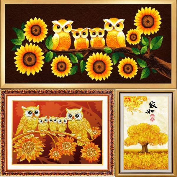 황금 부엉이 보석 큐빅 비즈 DIY 십자수 5D 원형비즈 상품이미지