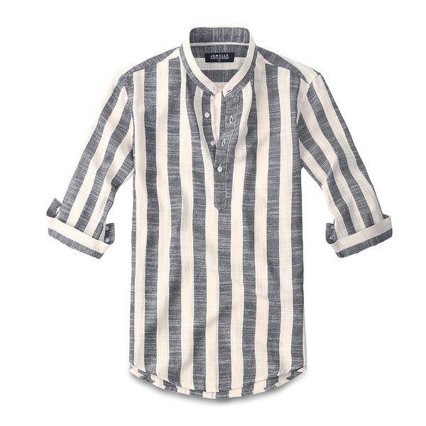 칠부 린넨 스트라이프 셔츠남방 남자셔츠 남성셔츠 164 상품이미지