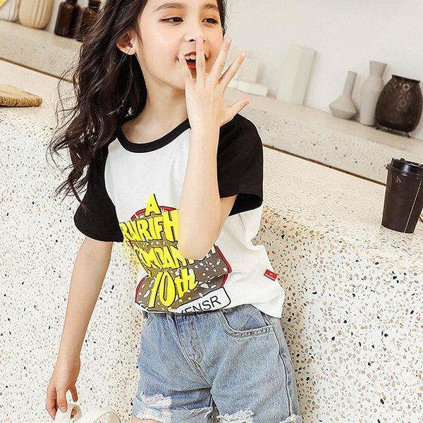 여아 라운드 반팔티 티셔츠 프린트 루즈핏 캐주얼 Y5 상품이미지