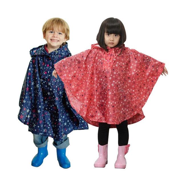 어린이 별무늬 판쵸우의 레인코트 비옷 우비 상품이미지