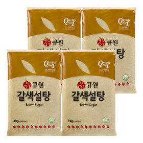 큐원 갈색설탕 3kg 4개 황설탕 매실청