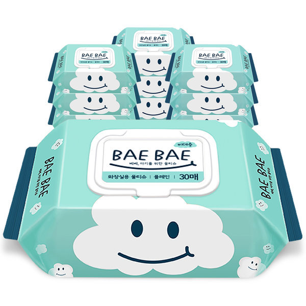 BAEBAE(베베) 아기물티슈 비데용 55gsm 캡형30매 10팩 상품이미지