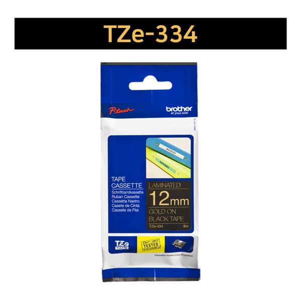 (현대Hmall) 부라더  라벨테이프 TZe-334(12mm x 8M) 검정바탕/금색글씨 상품이미지