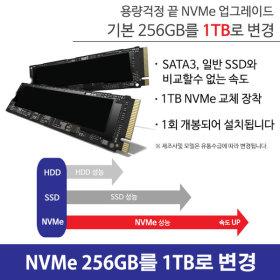 NVMe 256GB에서 총 1TB로 Upgrade 파빌리온 게이밍용